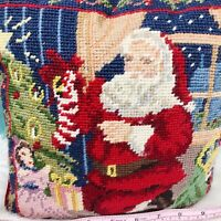 "Vtg Hand Crafted Needlepoint Santa Claus Throw Pillow Red Back Decor 9"" Square"
