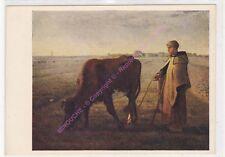 CP ART TABLEAU RUSSE РОССИЯ RUSSIAN JF MILLET Femme faisant pêtre sa vache