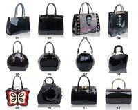 New Black Shiny Patent Leather Ladies Tote Shopper Handbag Shopper Organiser Bag