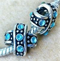 2PC LOT Antique Silver Aqua Blue Rhinestone X Criss Cross European Beads Charms