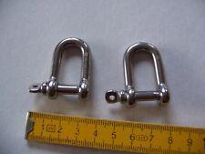 2 Schäkel(-Haken), Länge: 4 cm, hochwertiger Edelstahl, 6 mm Querschnitt; NEU