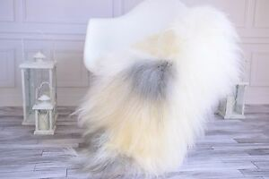 Genuine Natural white Gray Sheepskin Rug, Pelt, long fur, Super soft