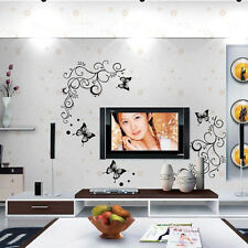 Flower Rattan and Butterfly REMOVABLE WALL STICKER VINYL DECAL MURAL DECOR 051L