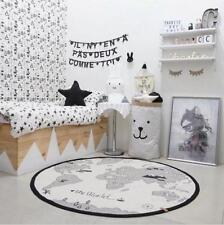 Baby Kid Soft Round World Map Play Rug Game Mat Bedroom Carpet Crawling Blanket
