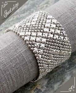 Sergio Style silver mesh cuff Bracelet Liquid Metal Snap button bracelet