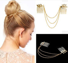 Women ONE Golden Tone Leaf Hair Cuff Chain Comb Headband Hair Band HS89 NEW