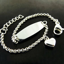 ID Bracelet Bangle 925 Sterling Silver S/F Solid Children Kids Baby Heart Charm