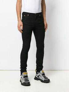 NWT Gucci Super Skinny Black Stretch Denim Logo Leather Patch Jeans Sz 30 $950
