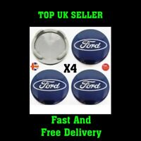 TOP QUALITY! Blue Ford Fits Most Models 54mm Alloy Wheel Centre Caps 'Set Of 4'