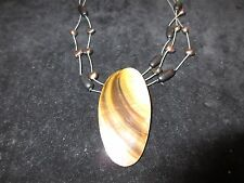 Stone Beaded Black Brown Beachy Abalone Shell Statement Necklace Layered Chain