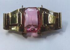 Vintage CORO Retro Art Deco Brooch by Adolf Katz ~ Large Pink RS ~ 1942