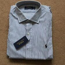 """Ralph Lauren Men's Custom WhiteBlue Stripe Long Sleeve Shirt, Size 16"""", £85"""