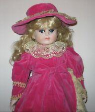 "Vintage Closed Mouth Bisque Doll 24"" Pink Velvet Hat Dress Blond Hair Blue Eyes"