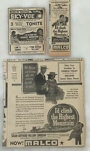 3 1951 newspaper ads for movie I'd Climb The Highest Mountain - Susan Hayward