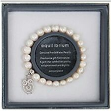 Equilibrium Natural Pearl Stretch Bracelet with Owl Charm JD59050NP