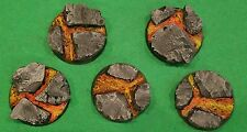 Warhammer 40K 32mm Resin Lava Base set (5) #2