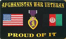AFGHANISTAN WAR VETERAN PROUD OF IT Iron On Patch Afghan & USA Flag Purple Heart