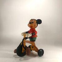Walt Disney Mickey Mouse Rare Vintage Plastic Figure Riding a Bike Moving Legs