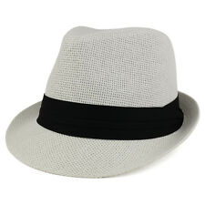 Colorful Straw Fedora Hat with Black Pleated Band - FREE SHIPPING