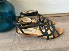 Jimmy Choo Black Strappy Open Toe Low Leather Wedge Sandals Size 36.5
