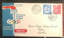 1956 Athens Greece First Day cover FDC To Sydney Australia Olympic Torch Flight