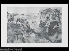 GRANDE PLANCHE imprimée, L'Etalon noir, western, chevaux,  C. Russel, fusain