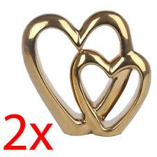 2 X Double Heart Gold Ornament Standing Valentine Love Wedding Gift Decor