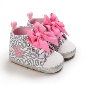 Fashion Baby Girl Bow Crib Shoes Infant High Top Boots Toddler PreWalker Trainer