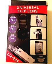 CLIP-ON LENS FOR CELL PHONE  / TABLET LENS - FISHEYE, MACRO AND WIDE ANGLE