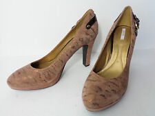 GEOX RESPIRA EUR 39 US 9M Brown Suede with Bronze High Heel Pump Shoe