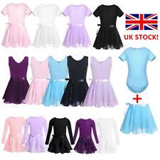 UK Girls 2PCS Gymnastics Leotard Ballet Dance Dress Chiffon Skirt Skate Costume