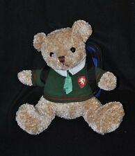 Peluche doudou ours écolier DAMART pull vert cravate sac sur le dos 26 cm TTBE