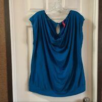 Pure Energy Women's Plus Size Blue Scoop Neck Short Sleeve Blouse 2X