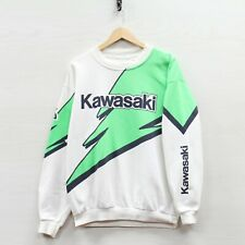 Vintage Kawasaki Racing Sweatshirt Crewneck Medium Neon Green 90s Extreme Sports
