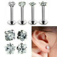 Surgical Steel Zircon Labret Lip Ring Tragus Helix Stud Barbell Piercing Jewelry