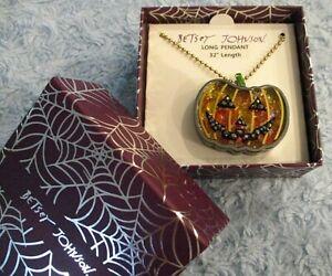 Betsey Johnson Halloween JACK-O-LANTERN Necklace - Colorful Stone Shaker $58 NIB