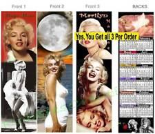 3 set-MARILYN MONROE 2019 CALENDAR BOOKMARK-Fan ART Card Blonde Love Pinup Girl