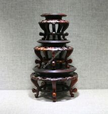 pedestal display stand China red suan-zhi wood rosewood carved 1 set round base
