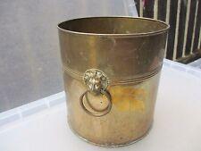 Vintage Brass Planter Plant Pot Tub Trough Bin Lion Head Loop Handle Urn England
