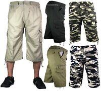 Mens 3/4 Summer Shorts Elasticated Waist Cargo Combat Three Quarter HolidayPants