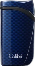 COLIBRI FALCON SINGLE ANGLED JET FLAME LIGHTER / CARBON DESIGN BLUE ** NEW **