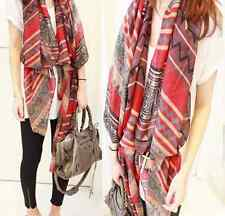 Lady Women's Fashion Long Big Soft Cotton Voile Scarf Shawl Wrap red HS