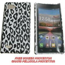 Pellicola+custodia BACK COVER LEOPARDO BIANCO per LG Optimus 4X HD P880 (C7)