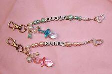 Personalised Baby Boy/ Girl's Name/ Pram/Change Bag/ Key Charm/ Christening Gift