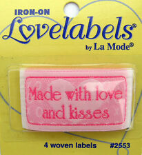 MADE WITH LOVE AND KISSES Woven Labels (Qty-4) Iron-On/Sew-In (Ref 2553)