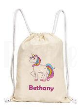 Personalised Girls Unicorn Drawstring Rucksack Canvas Gym/ PE Bag