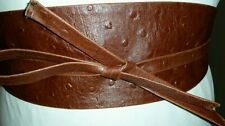 """Handmade Canadian OBI BROWN Ostrich Leather For waistline up to 36""""/91.4 cm   XL"""