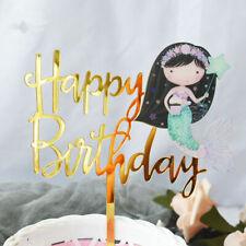 Mermaid Cake Topper Happy Birthday Acrylic Gold Cake Topper Mermaid Cake