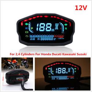 Motorcycle Bike LED LCD Speedometer Odometer Gauge Digital KMH MPH Fuel Gear Kit