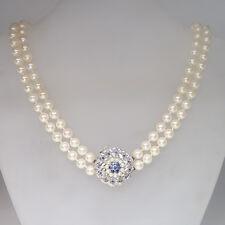Perlenkette 2-reihig Akoya-Zuchtperlen mit 750/18K Schmuckschließe Saphir